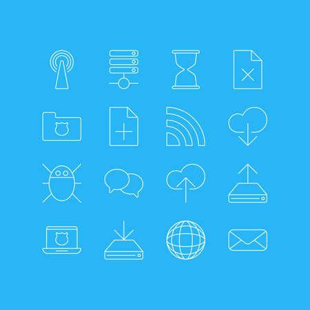 addition: Vector Illustration Of 16 Internet Icons. Editable Pack Of Data Upload, Sandglass, Secure Laptop Elements. Illustration