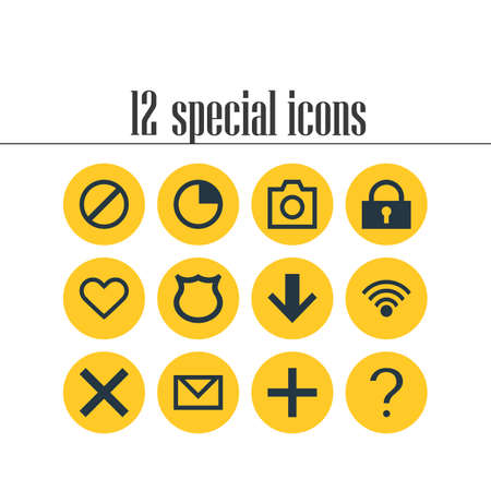 addition: Vector Illustration Of 12 Member Icons. Editable Pack Of Cordless Connection, Downward, Access Denied And Other Elements.