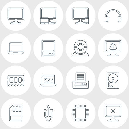 minicomputer: Vector Illustration Of 16 Laptop Icons. Editable Pack Of Storage, Usb Icon, Microprocessor And Other Elements. Illustration