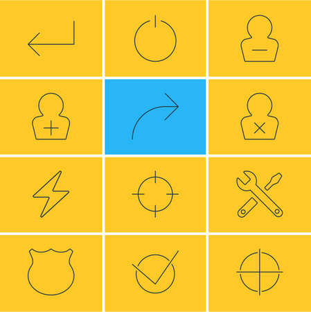 Vector Illustration Of 12 User Interface Icons. Editable Pack Of Bolt, Positive, Register Account And Other Elements.