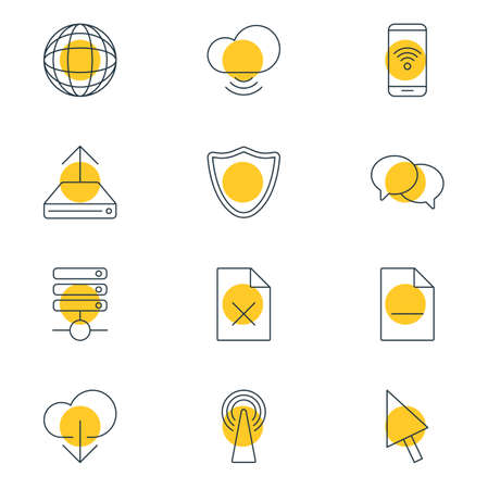 wap: Vector Illustration Of 12 Internet Icons. Editable Pack Of Safeguard, Server, Hdd Sync And Other Elements. Illustration