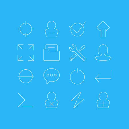 Vector Illustration Of 16 User Interface Icons. Editable Pack Of Wide Monitor, Startup, Remove And Other Elements.