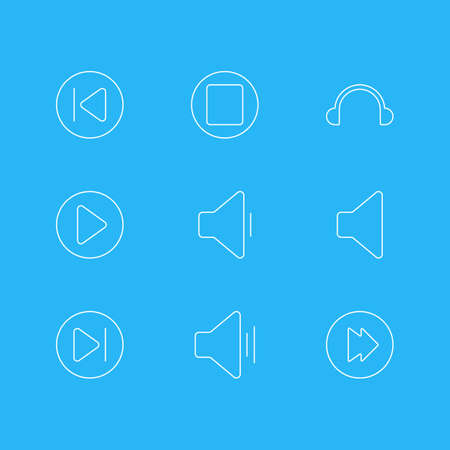 earpiece: Vector Illustration Of 9 Music Icons. Editable Pack Of Speaker, Decrease Sound, Advanced And Other Elements.