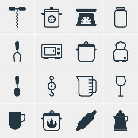 Vector Illustration Of 16 Kitchenware Icons. Editable Pack Of Tea Cup, Stewpot, Wine Opener And Other Elements. Çizim