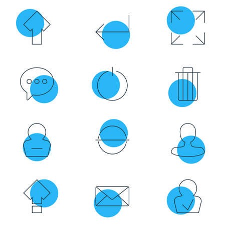 Vector Illustration Of 12 Interface Icons. Editable Pack Of Displacement, Message, Switch Off And Other Elements.