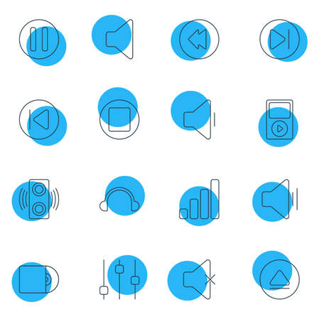 Vector Illustration Of 16 Music Icons. Editable Pack Of Soundless, Stabilizer, Rewind And Other Elements. Illustration