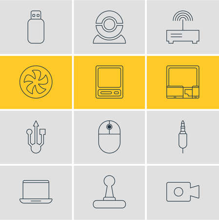 Vector Illustration Of 12 Laptop Icons. Editable Pack Of Web Camera, Pda, Movie Cam And Other Elements.