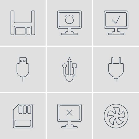 Vector Illustration Of 9 Computer Icons. Editable Pack Of Access Denied, Diskette, Usb Icon And Other Elements. Illustration