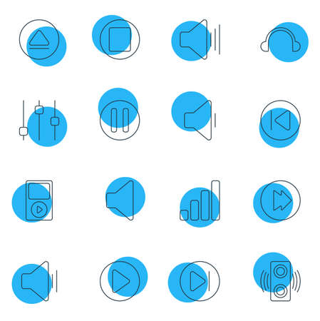 Vector Illustration Of 16 Music Icons. Editable Pack Of Amplifier, Earphone, Acoustic And Other Elements.