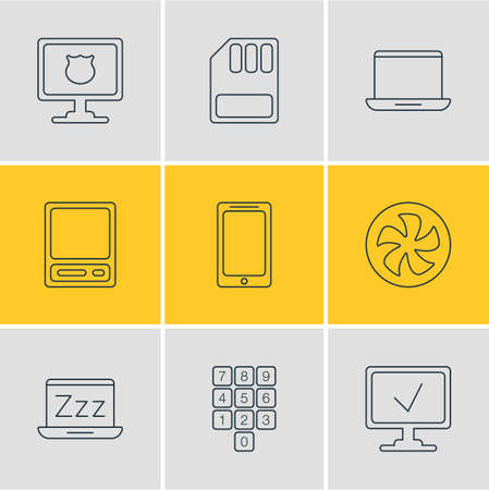 Vector Illustration Of 9 Notebook Icons. Editable Pack Of Pda, Cooler, Notebook And Other Elements.