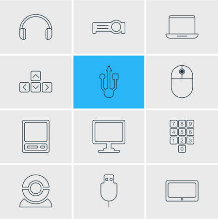Vector Illustration Of 12 Laptop Icons. Editable Pack Of Number Keypad, Web Camera, Screen And Other Elements.