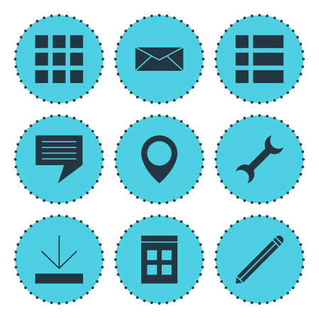 Vector Illustration Of 9 Web Icons. Editable Pack Of Pen, Chat, Date Time And Other Elements.