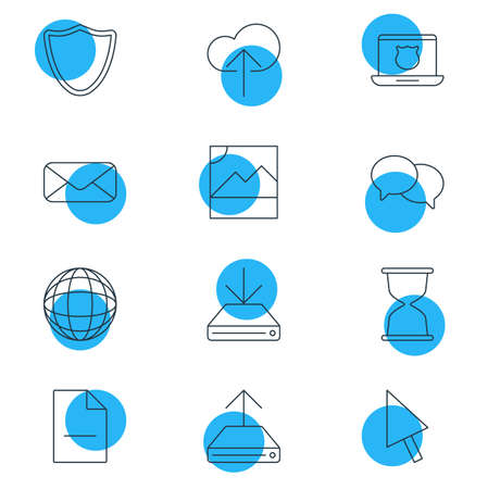 transmit: Vector Illustration Of 12 Web Icons. Editable Pack Of Pointer, Hdd Sync, Secure Laptop And Other Elements. Illustration