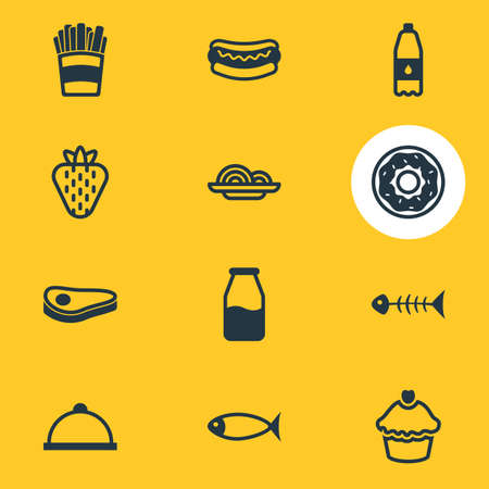 cruet: Vector Illustration Of 12 Food Icons. Editable Pack Of Cake, Skeleton, Cruet And Other Elements. Illustration