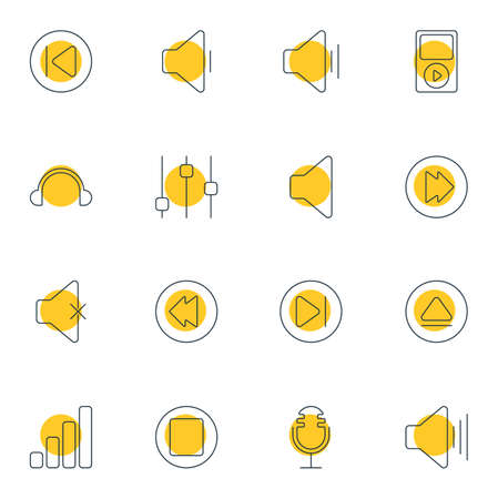 Vector Illustration Of 16 Melody Icons. Editable Pack Of Reversing, Soundless, Subsequent And Other Elements. Illustration