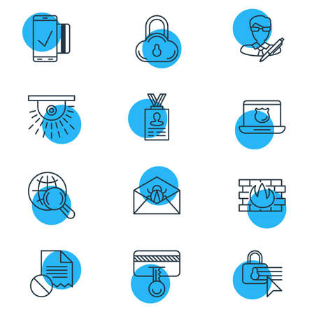 Vector Illustration Of 12 Privacy Icons. Editable Pack Of Internet Surfing, Easy Payment, Safe Storage And Other Elements.