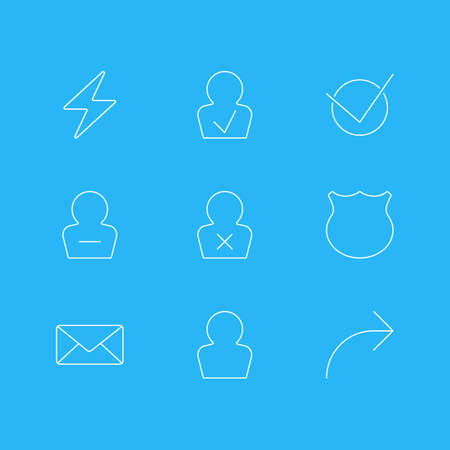 Vector Illustration Of 9 Interface Icons. Editable Pack Of Guard, Approved Profile, Share And Other Elements.