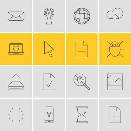 wap: Vector Illustration Of 16 Network Icons. Editable Pack Of Secure Laptop, Photo, Pointer And Other Elements. Illustration