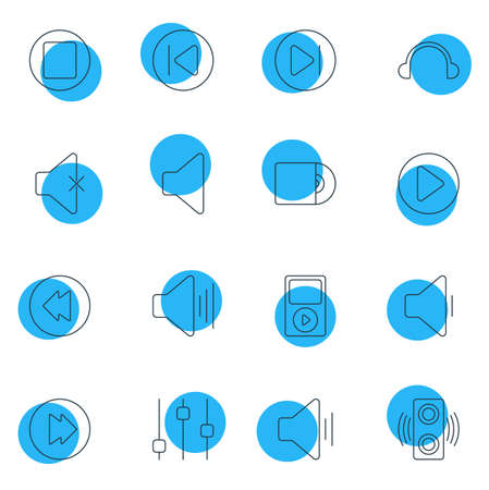 Vector Illustration Of 16 Music Icons. Editable Pack Of Stabilizer, Mp3, Speaker And Other Elements.