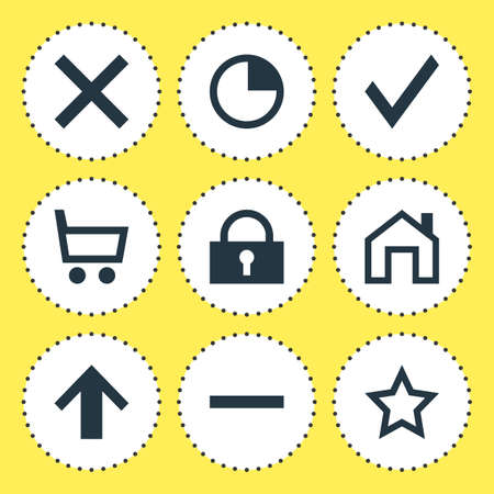 Vector Illustration Of 9 User Icons. Editable Pack Of Padlock, Top, Asterisk And Other Elements.