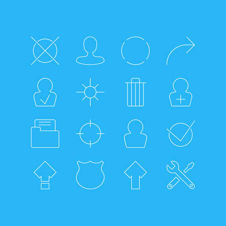Vector Illustration Of 16 UI Icons. Editable Pack Of Repeat, Man Member, Share And Other Elements.