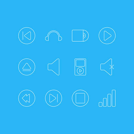 Vector Illustration Of 12 Melody Icons. Editable Pack Of Mp3, Preceding, Rewind And Other Elements. Иллюстрация