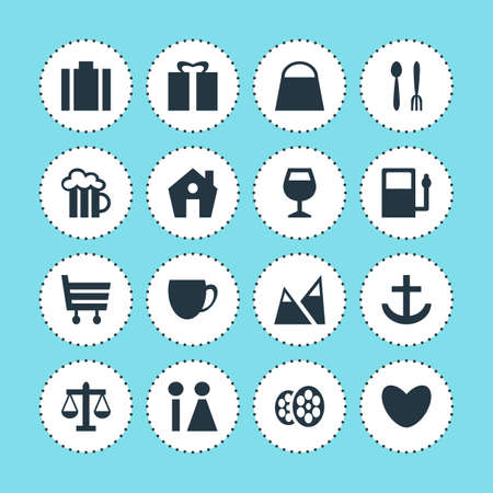 hiking: Vector Illustration Of 16 Check-In Icons. Editable Pack Of Film, Home, Present And Other Elements.