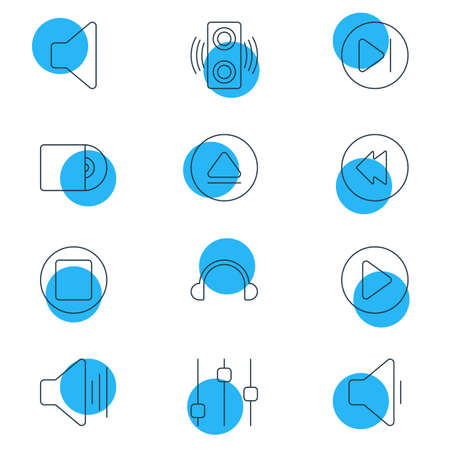 Vector Illustration Of 12 Melody Icons. Editable Pack Of Start, Reversing, Earphone And Other Elements. Illustration
