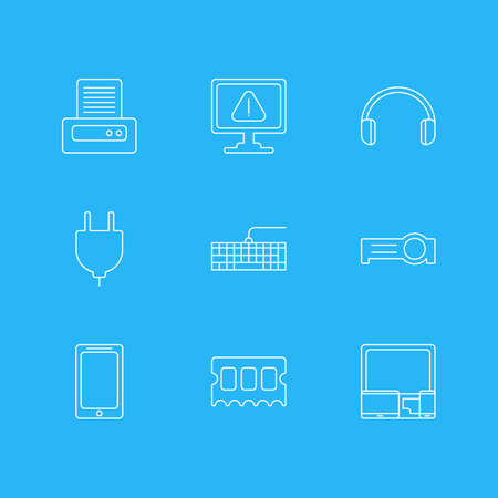 minicomputer: Vector Illustration Of 9 Notebook Icons. Editable Pack Of Headsets, Qwerty Board, Presentation And Other Elements. Illustration