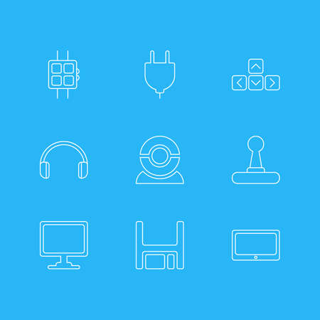 Vector Illustration Of 9 Notebook Icons. Editable Pack Of Web Camera, Diskette, Socket And Other Elements.