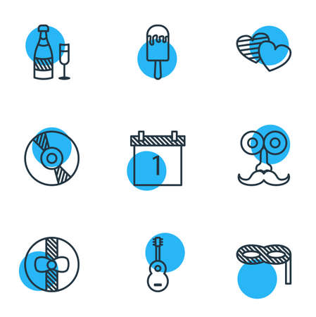 dvd: Vector Illustration Of 9 Feast Icons. Editable Pack Of Date Block, Man Style, Gift And Other Elements.