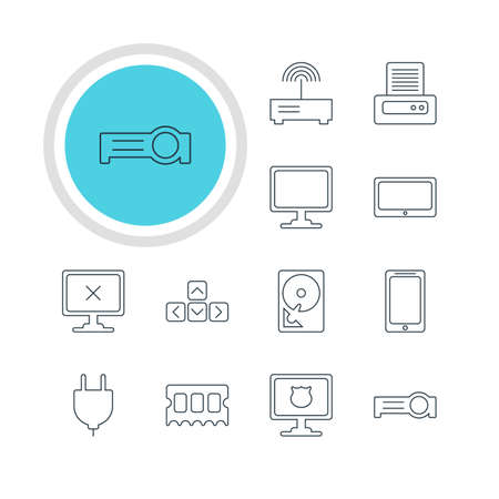 Vector Illustration Of 12 Notebook Icons. Editable Pack Of Router, Access Denied, Screen And Other Elements. Illustration