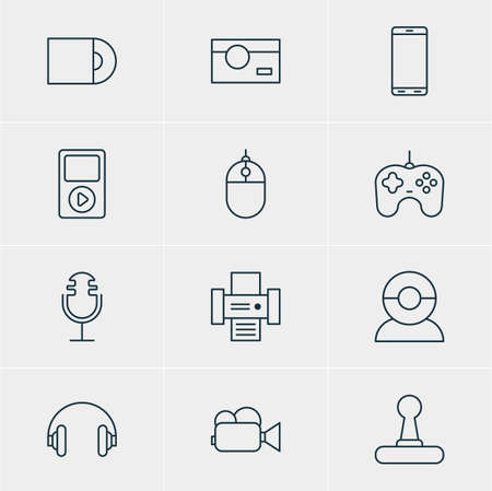 Vector Illustration Of 12 Hardware Icons. Editable Pack Of Headset, Photography, Smartphone And Other Elements.