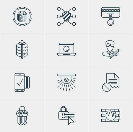 decode: Vector Illustration Of 12 Privacy Icons. Editable Pack Of Confidentiality Options, Data Security, Camera And Other Elements.