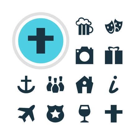comedy: Vector Illustration Of 12 Check-In Icons. Editable Pack Of Present, Photo Device, Cross And Other Elements.