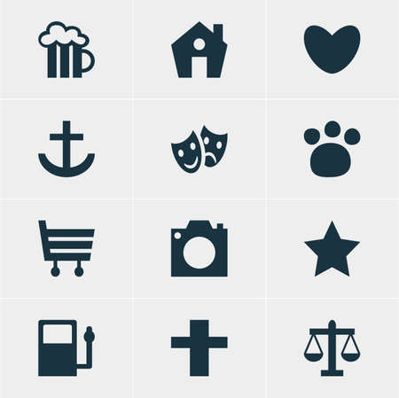 comedy: Vector Illustration Of 12 Check-In Icons. Editable Pack Of Pet Shop, Home, Anchor And Other Elements.