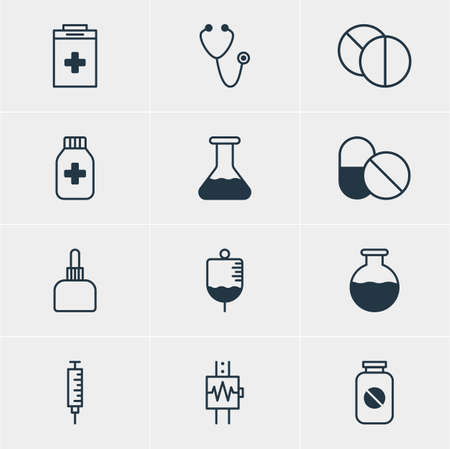 phial: Vector Illustration Of 12 Medical Icons. Editable Pack Of Vial, Heartbeat, Medicament Pitcher And Other Elements.