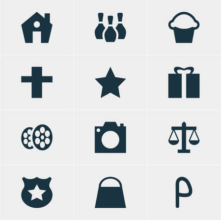 Vector Illustration Of 12 Check-In Icons. Editable Pack Of Cop, Bookmark, Film And Other Elements.