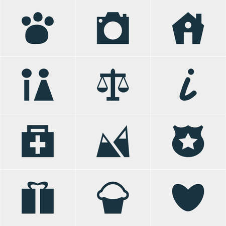 christmas cake: Vector Illustration Of 12 Location Icons. Editable Pack Of Scales, Photo Device, Present And Other Elements.