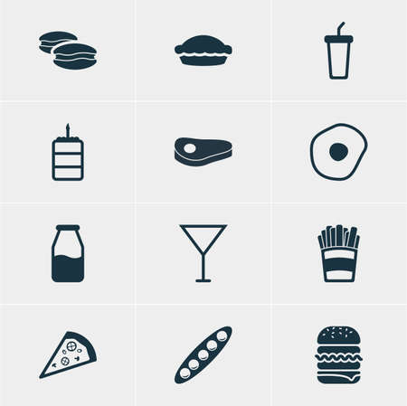 Vector Illustration Of 12 Dish Icons. Editable Pack Of Soft Drink, Sandwich, Biscuit Elements.