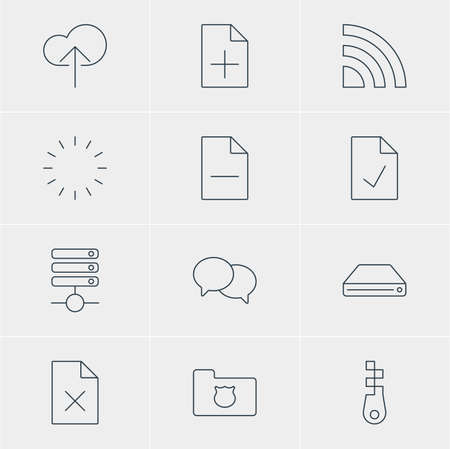 wap: Vector Illustration Of 12 Internet Icons. Editable Pack Of Privacy Doc, Fastener, Removing File And Other Elements. Illustration
