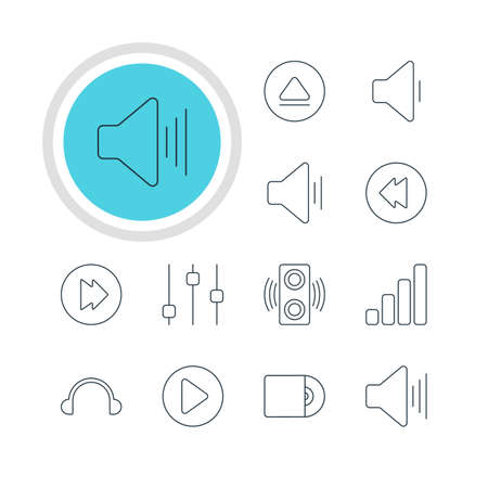Vector Illustration Of 12 Music Icons. Editable Pack Of Volume Up, Decrease Sound, Audio And Other Elements.