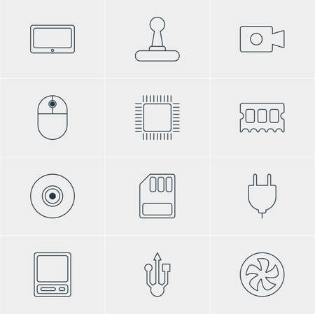 Vector Illustration Of 12 Computer Icons. Editable Pack Of Tablet, Objective, Memory Chip And Other Elements.