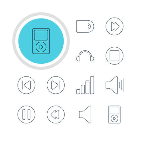 Vector Illustration Of 12 Music Icons. Editable Pack Of Earphone, Subsequent, Reversing And Other Elements.
