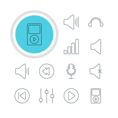 Vector Illustration Of 12 Music Icons. Editable Pack Of Earphone, Start, Volume Up And Other Elements.