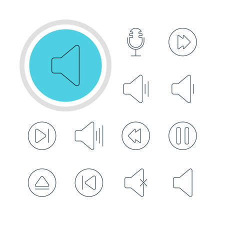 Vector Illustration Of 12 Melody Icons. Editable Pack Of Advanced, Mike, Soundless And Other Elements. Illustration