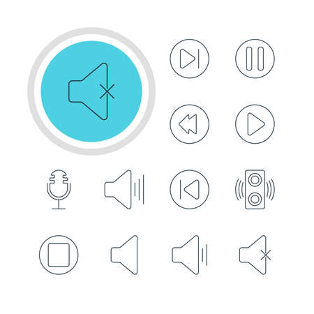 pause button: Vector Illustration Of 12 Music Icons. Editable Pack Of Volume Up, Lag, Preceding And Other Elements. Illustration