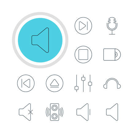 subsequent: Vector Illustration Of 12 Melody Icons. Editable Pack Of Mike, Amplifier, Subsequent And Other Elements. Illustration