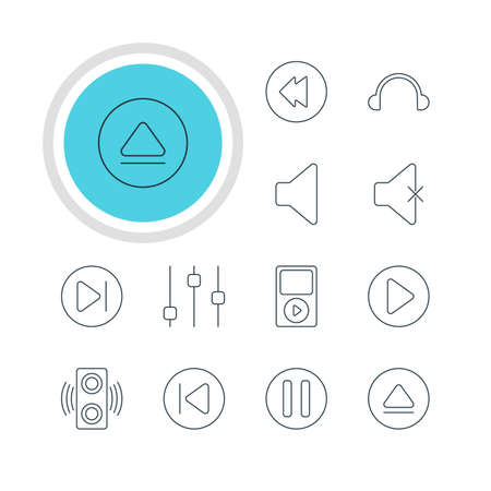subsequent: Vector Illustration Of 12 Melody Icons. Editable Pack Of Rewind, Lag, Subsequent And Other Elements.