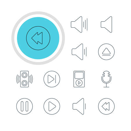 Vector Illustration Of 12 Melody Icons. Editable Pack Of Lag, Mp3, Subsequent And Other Elements. Illustration